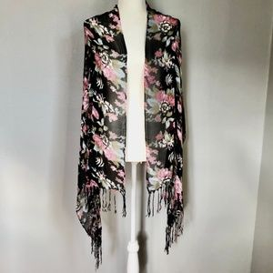 Accessories - Moody Floral Black Wrap Scarf Shawl